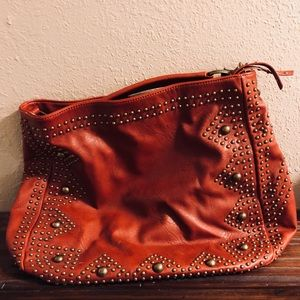 Big Buddha Rusty Red Satchel with Studded front